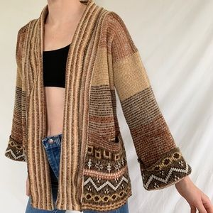 Vintage 70s Bell Sleeve Acrylic Cardigan Sweater
